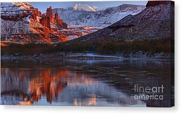 Canvas Print featuring the photograph Fisher Towers Sunset Reflection Panorama by Adam Jewell
