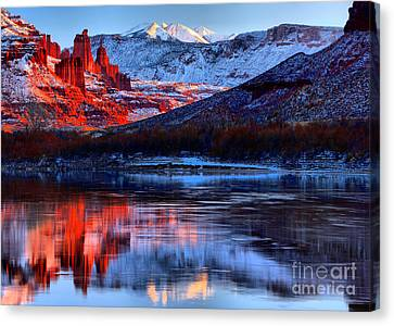 Canvas Print featuring the photograph Fisher Towers Sunset Winter Landscape by Adam Jewell