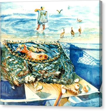 Fisherman And His Assistants Canvas Print by Estela Robles
