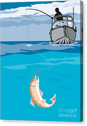 Speckled Trout Canvas Print - Fisherman Fishing Trout Fish Retro by Aloysius Patrimonio
