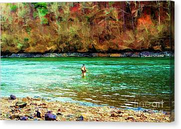 Canvas Print featuring the photograph Fisherman Hot Springs Ar In Oil by Diana Mary Sharpton
