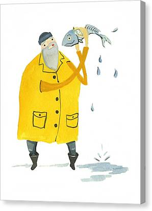 Canvas Print featuring the painting Fisherman by Leanne WILKES