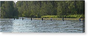 Fisherman Lineup Kenai River Canvas Print by Mary Gaines