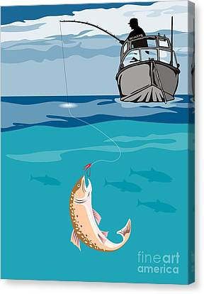 Fisherman On Boat Trout  Canvas Print by Aloysius Patrimonio