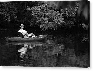 Fisherman On Lady Bird Lake - Bw Canvas Print