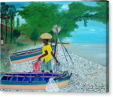 Canvas Print featuring the painting Fisherman Returning Home by Nicole Jean-louis
