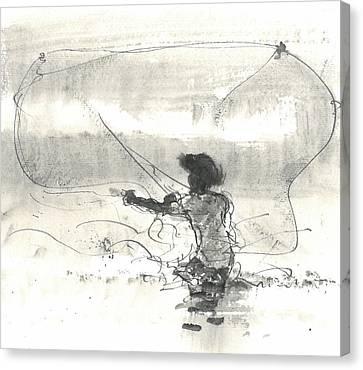 Fisherman Sri Lanka Canvas Print by Lincoln Seligman