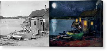 Canvas Print - Fisherman - The Fisherman's Cabin 1915 - Side By Side by Mike Savad