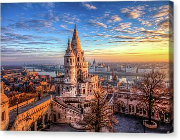 Canvas Print featuring the photograph Fisherman's Bastion In Budapest by Shawn Everhart