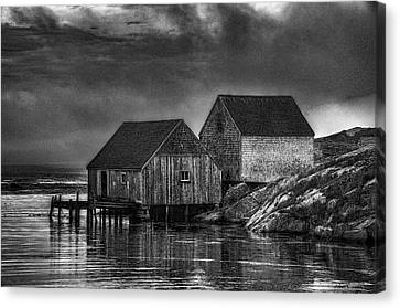 Fisherman's Shanty - Charcoal Canvas Print by John Dauer