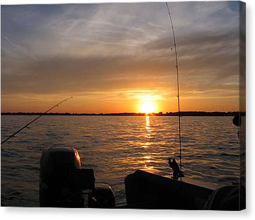 Canvas Print featuring the photograph Fishermans Sunset by Jack G  Brauer