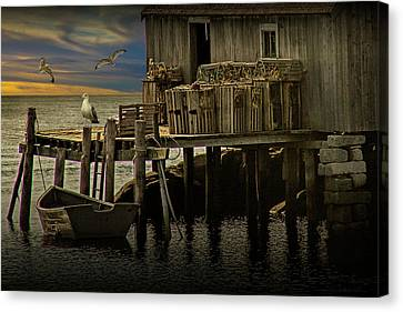 Wooden Platform Canvas Print - Fisherman's Wharf With Gulls At Peggy's Cove by Randall Nyhof