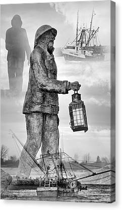 Fishermen - Jersey Shore Canvas Print by Angie Tirado