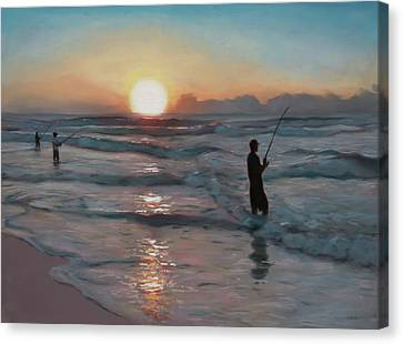 Fishermen At Sunrise Canvas Print by Christopher Reid