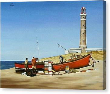 Fishermen By Lighthouse Canvas Print by Natalia Tejera