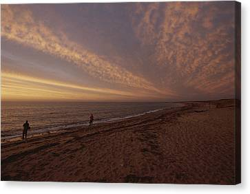 Solar Phenomena Canvas Print - Fishermen Fishing In The Surf At Sunset by Todd Gipstein