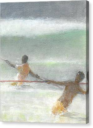 Fishermen Hauling Nets Canvas Print