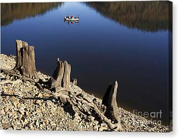 Fishermen. Lake Of  Auvergne. France Canvas Print by Bernard Jaubert