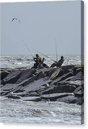 Fishermen With Seagull Canvas Print by Allen Sheffield