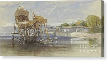Fishermen's Houses On The Bosphorus Canvas Print by Edward Lear