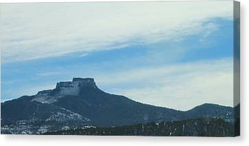 Canvas Print featuring the photograph Fishers Peak Raton Mesa In Snow by Christopher Kirby