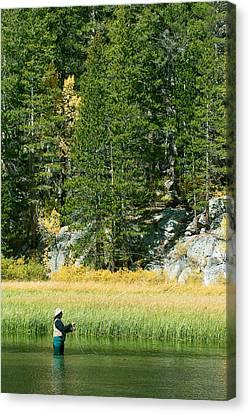 Canvas Print featuring the photograph Fisherwoman - Eastern Sierra California by Ram Vasudev