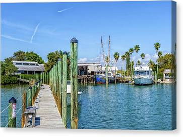 Canvas Print featuring the photograph Fishery Restaurant Dock And Harbor by Frank J Benz