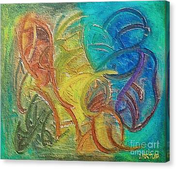 Canvas Print featuring the mixed media Fishes by Dragica  Micki Fortuna