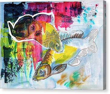 Canvas Print featuring the painting Fishes In Water, Original Painting by Ariadna De Raadt