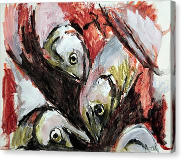 Canvas Print featuring the painting Fishes by Jim Vance