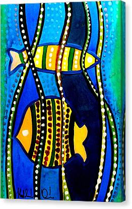 Canvas Print featuring the painting Fishes With Seaweed - Art By Dora Hathazi Mendes by Dora Hathazi Mendes