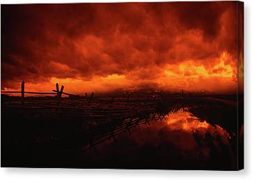 Fisheye Skyscape Storm Clouds At Sunset Canvas Print by Jerry Voss