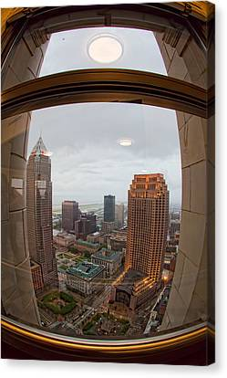 Fisheye View Of Cleveland From Terminal Tower Observation Deck Canvas Print by Kathleen Nelson
