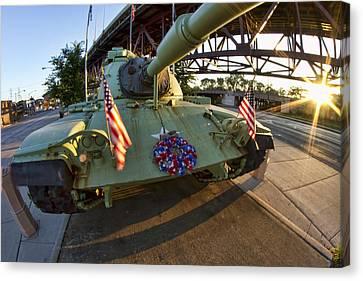 Fisheye View Of Tank As A Memorial To Veterans Canvas Print by Sven Brogren