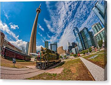 Fisheye View Of Toronto Canvas Print by Steve Harrington