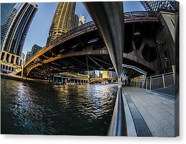 Fisheye View From The Chicago Riverwalk Canvas Print by Sven Brogren