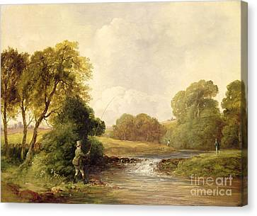 Williams River Canvas Print - Fishing - Playing A Fish by William E Jones