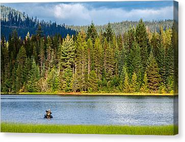 Inflatable Canvas Print - Fishing Alone by Todd Klassy
