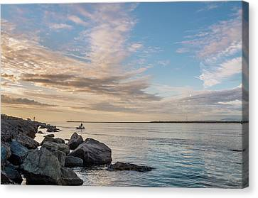 Canvas Print featuring the photograph Fishing Along The South Jetty by Greg Nyquist