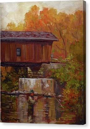 Fishing At Creek Road Bridge Canvas Print by Nora Sallows