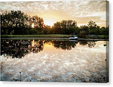 Canvas Print featuring the photograph Fishing At Dawn by Wade Courtney