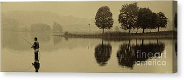 Fishing At Marsh Creek State Park Pa. Canvas Print by Jack Paolini