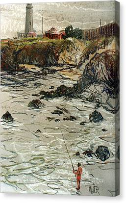 Fishing At Pigeon Point Canvas Print by Donald Maier