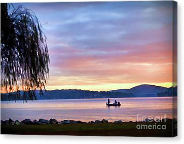 Canvas Print featuring the photograph Fishing At Sunrise - Claytor Lake State Park by Kerri Farley