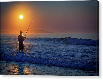 Canvas Print featuring the photograph Fishing At Sunrise by Rick Berk