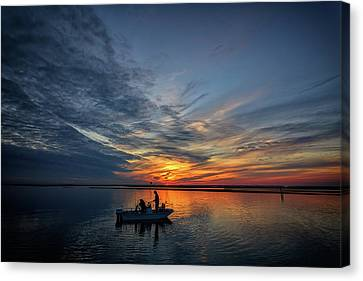 Fishing At Sunset Canvas Print by Rick Berk