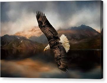 Eagle In Flight Canvas Print - Fishing At The Mount by Jai Johnson
