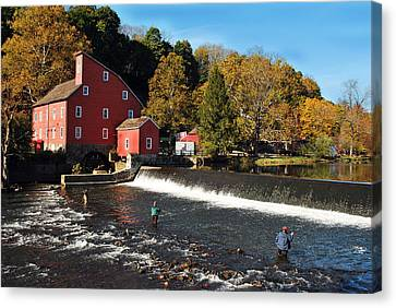 Fishing At The Old Mill Canvas Print