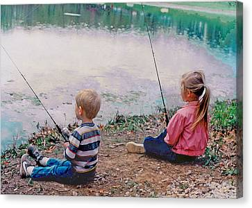 Fishing At Watkins Mill Canvas Print by Steve Karol