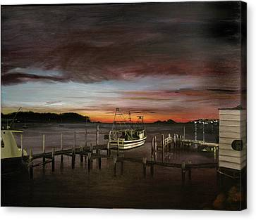 Fishing Bay At Sunrise Canvas Print by Elisabeth Dubois